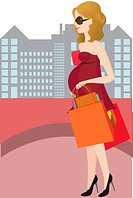A vector illustration of a pregnant woman going shopping