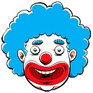 Cartoon face of a happy clown.