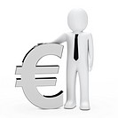 Businessman with tie hold a chrome euro