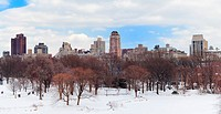 New York City Manhattan Central Park in winter city skyline panorama with snow and skyscrapers, cloudy blue sky.