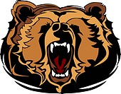 Growling Bear Head Mascot Graphic Vector Image