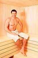 Mature man in a sauna