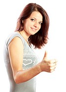 pretty dark_haired successful girl with thumbs up against white background.