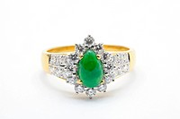 Isolated Jade Diamond Wedding Luxury Platinum Ring using in Love Concept