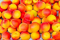 Big bunch of ripe apricots in crate
