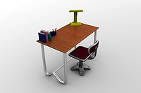 3d image, study table _ table, chair, books, pen case, table lamp