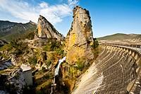 The Concrete Dam on the River Aragón, Spain