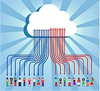 Cloud computing social team under cloud with arrows going up and down on blue background. Vector file available.