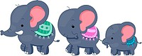Illustration Featuring a Family of Elephants _ eps8