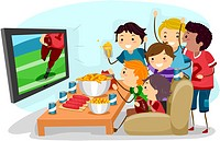 Illustration of Male Teens Watching the Super Bowl _ eps8
