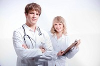 A shot of a caucasian doctor and nurse