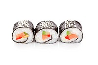 Three sushi rolls maki with salmon, avocado isolated on white background.