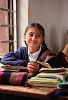 School girl in lessons, Butwal, Nepal, Asia