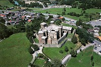 Aerial view of the castle of Fenis in the Clavalite' Valley, Valle d'Aosta Region