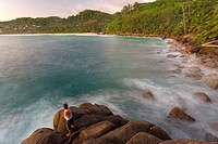 Fishermen at sunset at Anse Intendance - Mahe' Island - Seychelles