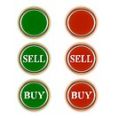 Three green and three red buttons for shop online