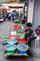 Tai O LANTAU HONG KONG Seafood market stall street vendor