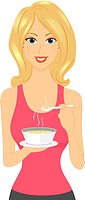 Illustration of a Girl Holding a Bowl of Soup _ eps8
