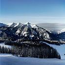 A mountain in winter landscape