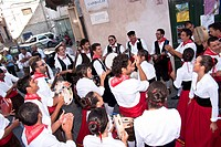 POLIZZI GENEROSA, SICILY _ AUGUST 21: Sicilian folk group from Polizzi G. at the International Festival of hazelnuts,dance and parade through the city...