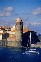 Notre Dame des anges church, Port of Collioure, Eastern Pyrenees, Languedoc-Roussillon, France