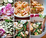 A collection of photos of all the phases of preparation of a zucchini and prawn salad with chives, red onion, red pepper.