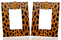 Two photo frames with leopard pattern decoration on white reflective background.