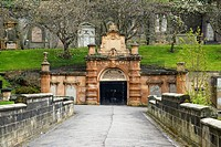 entrance bridge and ornate tunnel to Glasgow necropolis cemetery Scotland UK