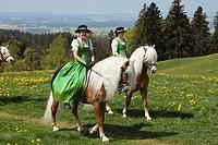 St. George's Ride horse pilgrimage, Auerberg, Bernbeuren, Allgaeu, Upper Bavaria, Bavaria, Germany, Europe