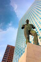 Nude man modern sculpture, Business district, Paris La Défense