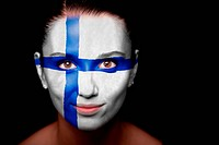 Portrait of a woman with the flag of the Finland painted on her face.