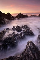 Broken rock ledges at Hartland Quay at sunset, North Devon, England, United Kingdom, Europe
