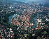 Switzerland, Canton of Bern, Aerial view of Bern