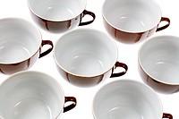 Close Up of Cups on White Background