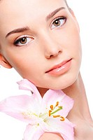 healthy skin of young female face _ isolated
