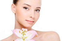nice beautiful clean health female face close_up _ white background