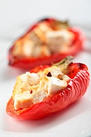 Baked red bell pepper stuffed with feta cheese