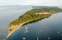Aerial view of Sidney Spit, Gulf Islands National Park Reserve of Canada, Gulf Islands, British Columbia, Canada