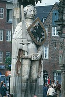 Germany - Bremen - Bremen, Marktplatz. Roland (World Heritage Site by UNESCO, the year 2004), the statue of knight Orlando, 1404.