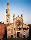 Italy - Emilia Romagna Region - Modena - Facade of the Cathedral and Ghirlandina Tower (UNESCO World Heritage Site, 1997).