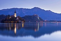 Blejski Otok Island on Lake Bled at dawn in autumn, Gorenjska, Slovenia, Europe