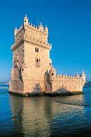 Portugal, Lisbon, Belem Tower 1515_1521 designed by architect Francisco de Arruda, night view