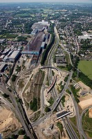 Aerial view, A40 motorway, reconstruction of the B1 motorway, area of the Donetsk-Ring, Stahlhausen motorway exit, Bochum, Ruhr area, North Rhine-West...