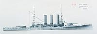 Naval ships - Italy's Regia Marina battleship RN Vittorio Emanuele, 1904. Color illustration