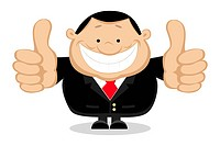 Businessman showing thumbs up. Separate layers. Vector illustration