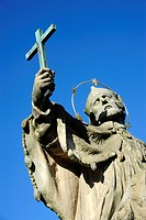 Saint with cross, statue of St. John of Nepomuk, Alte Mainbruecke bridge, Wuerzburg, Lower Franconia, Bavaria, Germany, Europe