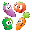 A set of cartoon vegetables. NO radial gradient / transparency / gradient mesh. Created in Adobe Illustrator. EPS 8.