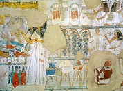 Egypt, Thebes (UNESCO World Heritage List, 1979) - Luxor. Sheikh 'Abd al-Qurna. Tomb of steward to first Amon prophet at Karnak Djehuty. Mural paintin...