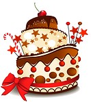 Big sweet birthday cake. Vector illustration.Image contains gradient meshes.