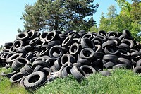 old Tyres dumped in countryside